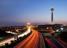 Teheran bij nacht royalty-vrije stock fotografie