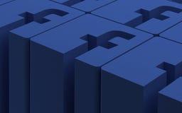 Teheran Iran-April 21 2016 - det sociala nätverket Facebook 3D undertecknar Arkivbild