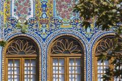 TEHERAN IRAN - OKTOBER 05, 2016: Yttersidor av den Golestan slotten Arkivbilder