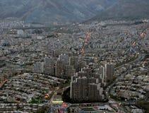 Teheran norr som bygger, stad Iran solnedgång Fotografering för Bildbyråer