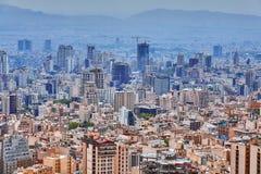 Teheran stolica Iran, pejzaż miejski od punkt obserwacyjny góry fotografia stock