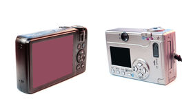 Tehnology evolution. Technology evolution renewal upgrade concept: old and new generation compact photo cameras Stock Photos