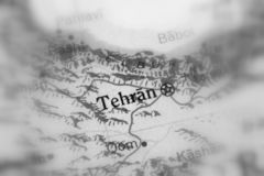 Tehran, the capital city of Iran. Tehran, the capital city of Iran selective black and white focus royalty free stock image