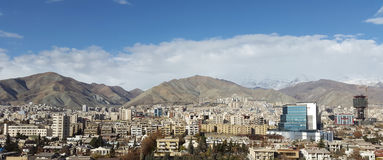 Tehran city capital of iran in aerial view of royalty free stock photo