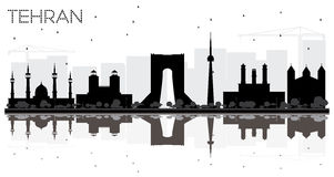 Tehran City skyline black and white silhouette with reflections. Stock Images