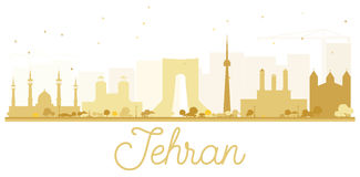 Tehran City skyline golden silhouette. Royalty Free Stock Image