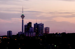 Tehran cityscape. Dawn landscape of tehran northern districts Royalty Free Stock Photos