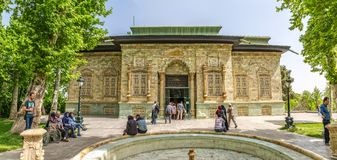 Tehran Green Palace Museum panorama. TEHRAN, IRAN - MAY 1, 2015: Panoramic view of the Green Palace Museum Sabz with visitors in the front, in a beautiful sunny stock photos