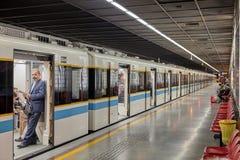Subway train is at a stop, Tehran, Iran. Royalty Free Stock Photography