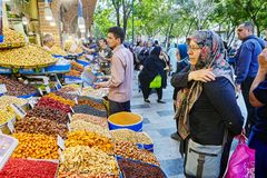 Trays with dried fruits and nuts in Tehran Grand Bazaar. stock image