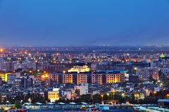Top view of city in evening illumination, Tehran, Iran. royalty free stock photography
