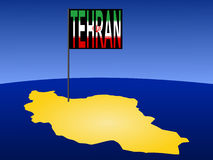 Tehran on Iran map Stock Photography
