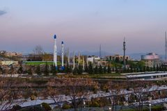 View of Iranian missiles in Holy Defense Museum in Tehran, Iran. Tehran, Iran - March 18, 2018: View of Iranian missiles in Holy Defense Museum at sunset stock photos