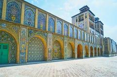 The Sun Edifice in Golestan, Tehran. TEHRAN, IRAN - OCTOBER 11, 2017: The architecture of Edifice of Sun Shams-ol-Emareh in Golestan complex is a fusion of Royalty Free Stock Photos
