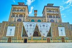 The mirror terrace of Edifice of Sun, Golestan, Tehran. TEHRAN, IRAN - OCTOBER 11, 2017: The Edifice of Sun Shams-ol-Emareh in Golestan palace has the large Stock Photo
