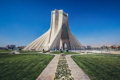 Azadi Tower in Tehran. Tehran, Iran - October 15, 2016: One of the most famous Tehran landmarks - Azadi Tower located at Azadi Square stock photo