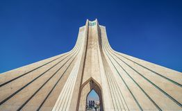 Azadi Tower in Tehran. Tehran, Iran - October 15, 2016: One of the most famous Tehran landmarks - Azadi Tower located at Azadi Square stock photography