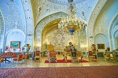 Talar-e Salam Hall of Golestan, Tehran. TEHRAN, IRAN - OCTOBER 11, 2017: The Reception Hall Talar-e Salam is the outstanding landmark of Golestan Palace with Royalty Free Stock Photo