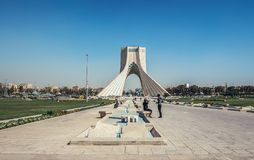 Azadi Tower in Tehran. Tehran, Iran - October 15, 2016: View on Azadi Square with one of the most famous Tehran landmarks - Azadi Tower royalty free stock photo