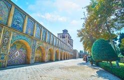 Edifice of the Sun, Golestan, Tehran. TEHRAN, IRAN - OCTOBER 11, 2017: The walk along the multiple arches of Shams-ol-Emareh Edifice of Sun of Golestan Palace Royalty Free Stock Photo