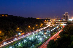 Tehran landscape. Night view of tehran streets and highways and passing cars Royalty Free Stock Image