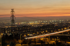 Tehran landscape. Tehran sunset landscape with an electric post Stock Image