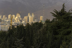 Tehran Northern Part Skyline Behind Trees Royalty Free Stock Photos