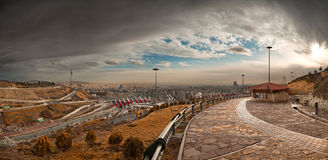 Tehran Panorama from Nahjolbalagheh Park on a Sunny Overcast Day Stock Image