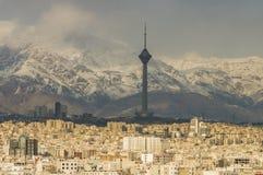 Tehran skyline of the city. Tehran skyline during revolution day anniversary. Iran, 2016 royalty free stock photos