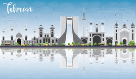 Tehran Skyline with Gray Landmarks, Blue Sky and Reflections. Vector Illustration. Business Travel and Tourism Concept with Historic Buildings. Image for Stock Photos