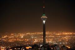Tehran skyline and Milad Tower at night. Tehran skyline and illuminated Milad Tower at night, Tehran, Iran royalty free stock photography
