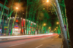 Tehran Street Night View. Night View of Tehran Valiasr Street Stock Photos