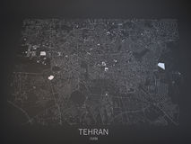 Tehran streets and buildings 3d map, Iran Royalty Free Stock Images