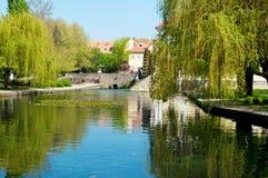 Teich in der Mitte von Tapolca Lizenzfreies Stockbild