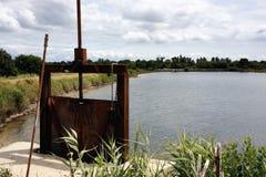Teich in einem Austerenbauernhof Lizenzfreie Stockfotografie