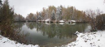 Teich in einem Wald im Winter Stockfotografie