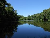 Teich hinter den Wäldern im windstillen Wetter Stockfotos