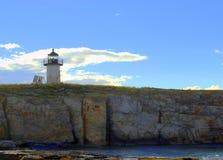 Teich-Insel-Leuchtturm, Fort Popham, Phippsburg Maine Stockbild