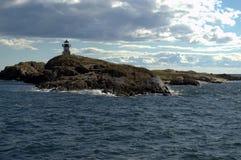 Teich-Insel-Leuchtturm, Phippsburg Maine Stockbild