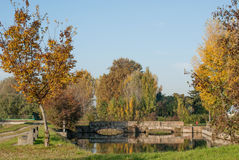 Teich mit Brücke Lizenzfreie Stockfotos