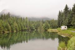 Teich mit dem Führen des Bewegungshauses Lizenzfreie Stockfotografie