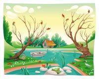 Teich und Tiere. Lizenzfreie Stockfotos