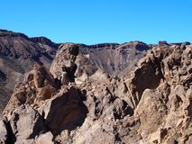 teide国家公园破火山口的岩石火山的风景  免版税库存照片