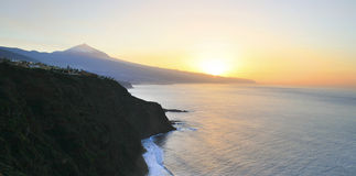 Teide. Beautiful sunset of Teneriffa with the teide at the horizon Stock Photos