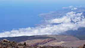 Teide. Tenerife North shore and clouds: view from Teide peak Royalty Free Stock Photos