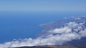 Teide. Tenerife North shore and clouds: view from Teide peak Stock Image