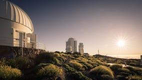 Teide astronomisch waarnemingscentrum in het Eiland van Tenerife, Spanje royalty-vrije stock afbeelding
