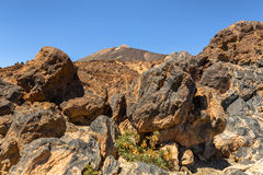 Teide Behind Volcanic Rocks Stock Photography