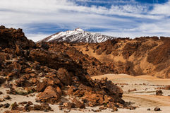 Teide behind vulcanic rock Stock Image