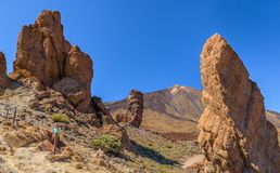 Teide mellan Roques Royaltyfria Bilder